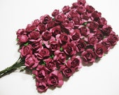Mini Burgundy Mulberry Paper Roses Flowers - 4 Bunches