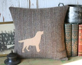 Yellow Lab Brown Tweed  Pillow Cover - Recycled Wool, 14 Inch, Accent Pillow, Throw Pillow