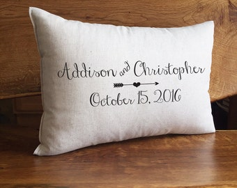 Personalized Wedding Pillow, Bride and Groom Names and Wedding Date, Wedding or Anniversary Gift, Cotton Linen Home Decor Pillow