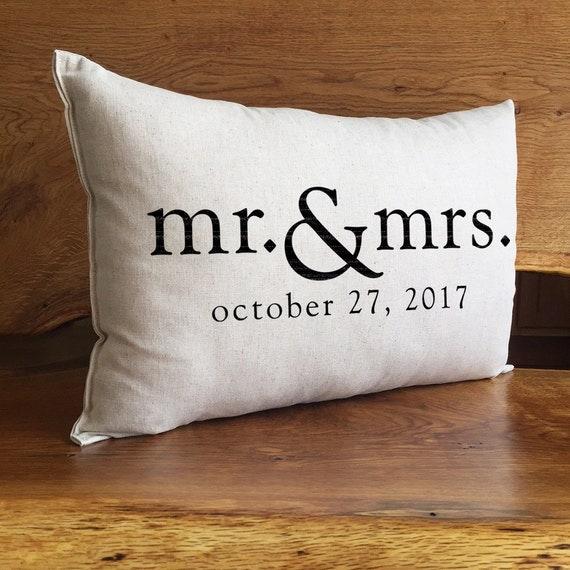 Mr & Mrs Personalized Wedding Pillow Anniversary Gift