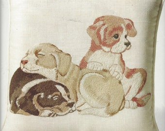 1970s Three Puppies Crewel Embroidery Pillow Kit by Columbia Minerva 16 x 16 Pillow Framed Picture Puppy Embroidery Birthday Gift for Her