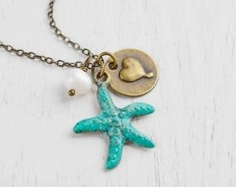 Starfish Necklace,Patina Verdigris Starfish Charm Pendant,Everyday Starfish Jewelry,Patina Jewelry,Freshwater Pearl,Gift for her,Beach