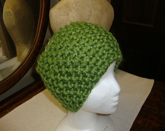 Hand Knitted Headband in Green.