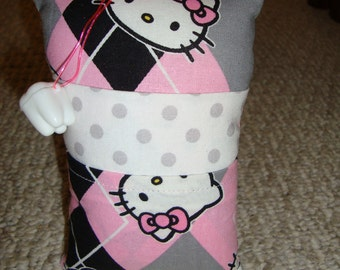 Tooth Fairy Pillow with tooth holder: Toothfairypillow, Plastic tooth holder, Kitties, Pink, Gray, Dots, Tooth, Fairy, Girls