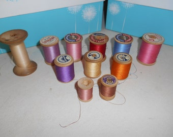 11 Wooden Spools Vintage Thread - Assortment Including Many Bright Colors