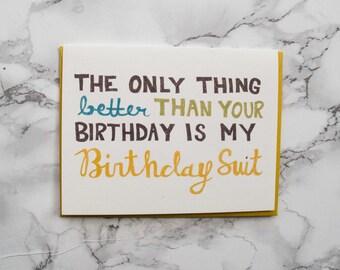 Funny Adult Birthday Card Boyfriend.  Eco Friendly Card. 100% Cotton Paper. Naughty