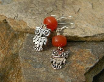 Owl earrings beaded earrings bird jewelry gift for bird lover nature inspired woodland earrings