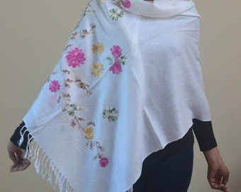 White Soft Pashmina Scarf Oversize Floral Embroidred Scarf Shawl Fall Winter Fashion Holiday Fashion Scarf Women Accessories Gifts For Her