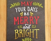 Merry and Bright Chalk Art Card - Blank 5x7 Greeting Card with Envelope