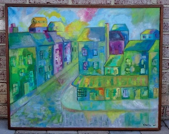 Mid Century Large 1960's Landscape Oil Painting of Village Street Scene by Artist K. Baffa - Amazing!!
