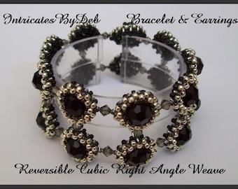 Tutorial Reversible Beaded Cubic Right Angle Weave Bracelet & Earrings - Beading Pattern, Beadweaving Instructions, PDF, DIY