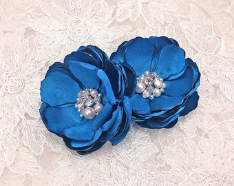 Royal Blue Flower Hair Clips with Swarovski Crystal Embellished - Brooch - Shoe Clip for a Bride, Bridesmaid, Photo Prop or Gift - Kia