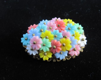 Vintage Oval Pastel Celluloid Flower Brooch