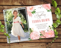 Baptism announcement card with photo - Christening, LDS baptism invitation Girl Pink Flowers - Custom Printable
