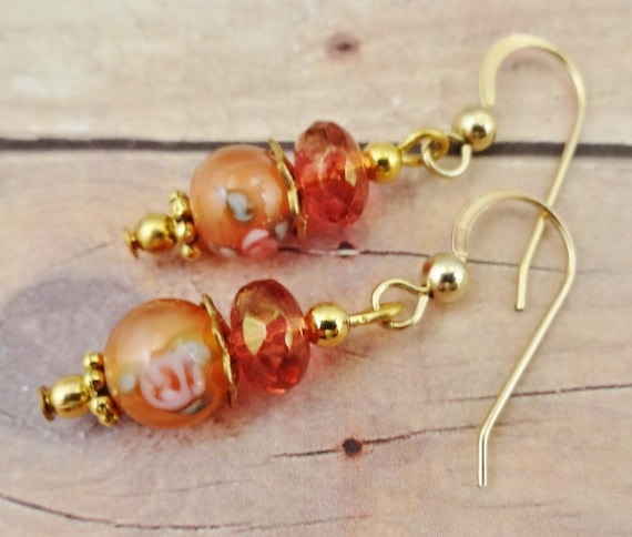 Peach Lamp Glass and Czech Firepolish Earrings