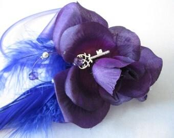 Purple Rose Fascinator, Bright Blue & Electric Blue feathers, Fascinators, Dance Head Band, Royal Ascot Fascinator, Second Line, Head piece
