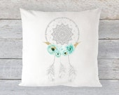 "Pillow Cover 16"" x 16"" - Mint and Gold Floral Dreamcatcher   // Faux Gold Glitter // Mint + Gold + Grey"