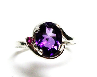 "Amethyst, amethyst accent ring, amethyst ruby, purple red , accent ring, s 7 1/2  ""Dew Drops """