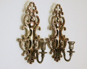 Candle Wall Sconces: Syroco Wall Decor, Pewter Tone Candle Holders