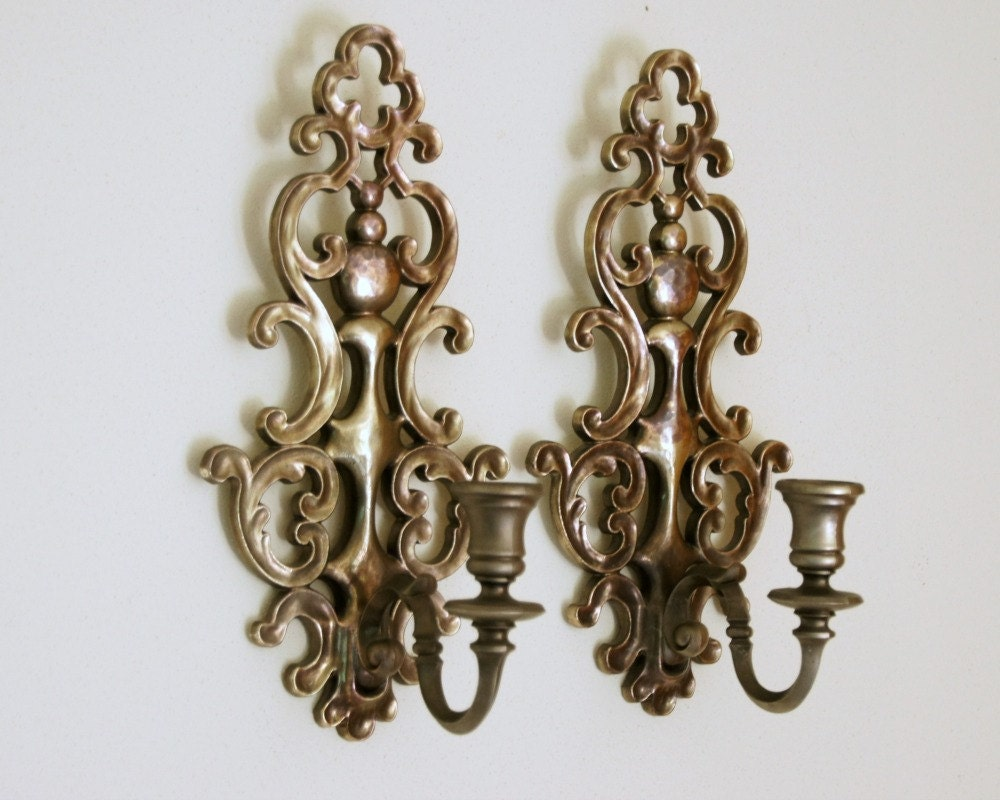 Candle Wall Sconces: Syroco Wall Decor Pewter Tone Candle