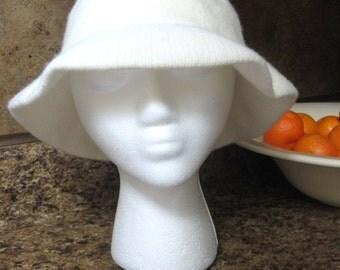 White Angora Wool Cloche Hat