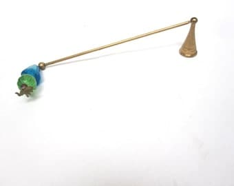Vintage Candle Snuffer Brass Glass Elephant