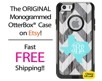 iPhone OtterBox Commuter Case for iPhone 7, 7 Plus, 6/6s, 6 Plus/6s Plus, 5/5s/SE, 5c Galaxy S7 S6 S5 Note 5 Monogram Barnwood Texas State