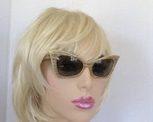 Vintage 1950s1960s Cat Eye Cool Ray Polaroid 155 / Womens Sunglasses / Styled by Cari Michelle / Gold / Black / MOD