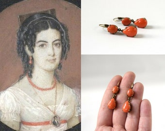 Regency Coral Earrings, Historical Coral Jewelry, Glass Coral Dangle Earrings, Historic Jewelry, 19th Century Coral Jane Austen Jewelry Pink