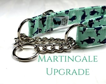 "Martingale Collar UPGRADE | Half Check Chain Martingale Collar Upgrade (5/8"", 3/4"", 1"", 1.5"" or 2"" width upgrade)"