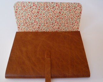 Leather Sketchbook Leather Journal Travel Journal. Golden Tan Leather with an Antique Grained Finish. Lined with a Beautiful Floral Paper.