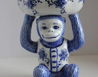 Vintage Blue and White Monkey with Bowl--Monkey Dish--Chinoiserie Bowl