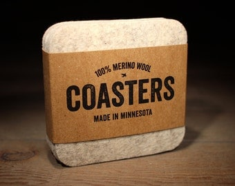 100% Merino Wool Square Felt Coasters - 5mm Thick German-milled Felt - Rich, Lightfast Colors - Natural and Renewable -  Arctic Grey
