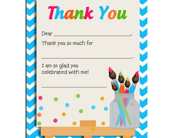 Painting Party Thank You Notes Printable -  Instant Download - Painting on Canvas Collection