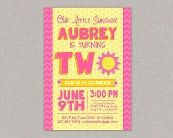 Sunshine Invitation, Sunshine Birthday Invitation, You Are My Sunshine Invitation