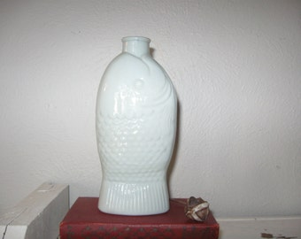 Vintage Dr Fisch's Bitters milk glass bottle Wheaton Glass Co New Jersey