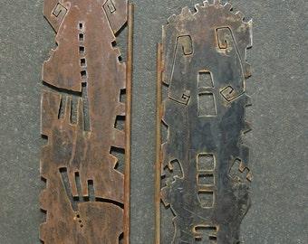 primitive metal sculpture, metal garden sculpture, recycled metal scuplture, metal plant stake, abstract garden art, rusty metal garden art