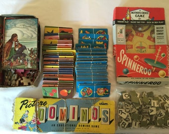 1950's Game Pieces and Gulliver's Travels Puzzle, Picture Domino's, Cowboy & Indian Domino's, Spinneroo and Letter Squares