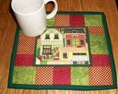 Quilted Candle Mat Mug Rug Coaster Folk Art Primitive Decor Village Scene