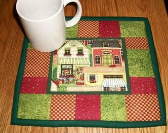 Quilted Candle Mat, Mug Rug, Coaster, Folk Art, Primitive Decor, Village Scene, Snack Mat, Table Topper, Mini Quilt, Coaster, Kitchen Decor