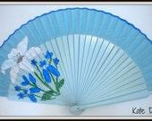 Blue Floral Flamenco Folding Hand Handheld Fan by Kate Dengra from Spain