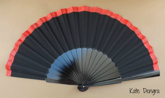 Black and Red Hand Fan XL
