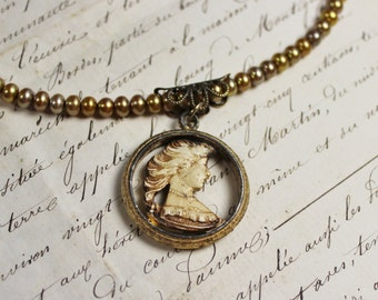 She- Vintage Assemblage Carved Cameo Pendant- Genuine Freshwater Pearls- Champagne Khaki Gold- One of a Kind- Hand Made by Karen Graham