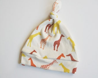 Ready To Ship Giraffe Knotty Hat Organic Cotton in Orange, Rust and Yellow. Eco Friendly Baby Hat. Organic Baby Hat. Giraffe Print