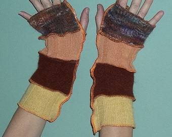 Upcycled Sweater Fingerless Gloves Arm Warmers Orange Yellow Burgundy Womens gloves