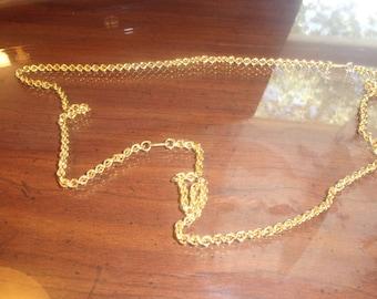 vintage necklace long goldtone chain