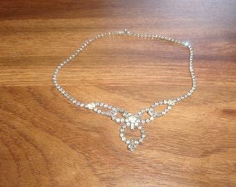 vintage necklace silvertone rhinestones