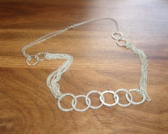 vintage necklace silvertone chain circles