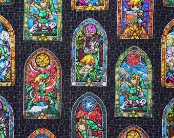 Legend of Zelda, Zelda Fabric, Stained Glass, Wind Waker,  Nintendo Fabric,  Cotton Fabric, By the Yard