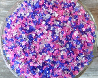 Sprinkles, 3 oz - Princess Shiny Sugar Crystals Mix (purple, pink, white) - For Cookies - Cupcakes - Cake Pops - Ice Cream - Pretzels - Cake